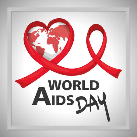 world aids day with earth planet vector illustration design Vectores