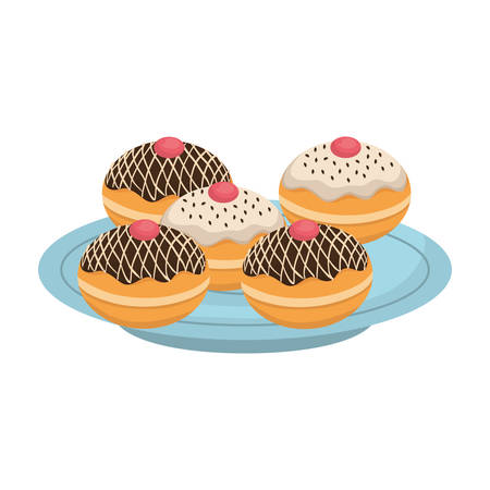 dish with hanukkah donuts sweet vector illustration design
