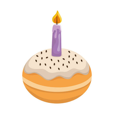hanukkah donuts sweet with candle vector illustration design