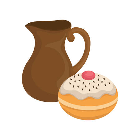 hanukkah donuts sweet with teapot vector illustration design Illustration