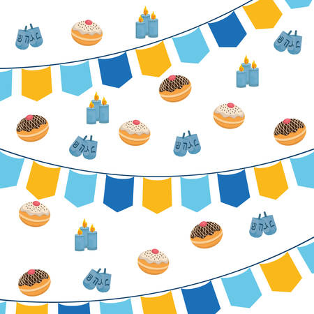 hanukkah donuts with garlands sweet pattern vector illustration design