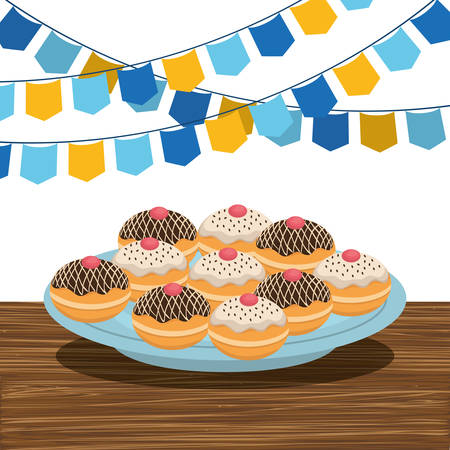 dish with hanukkah donuts and garlands vector illustration design Illustration