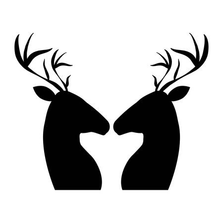 couple reindeer profile silhouette vector illustration design