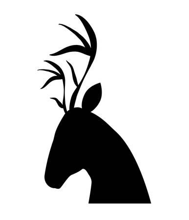 reindeer profile silhouette icon vector illustration design Illustration