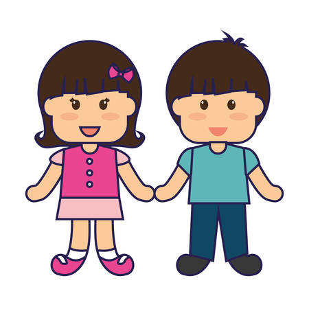 cute little kids couple vector illustration design