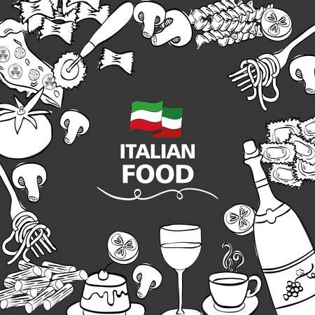wine with italian food menu vector illustration design Illustration