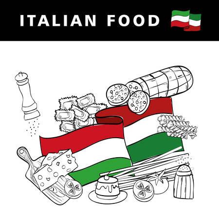 italian flag with delicious food menu vector illustration design