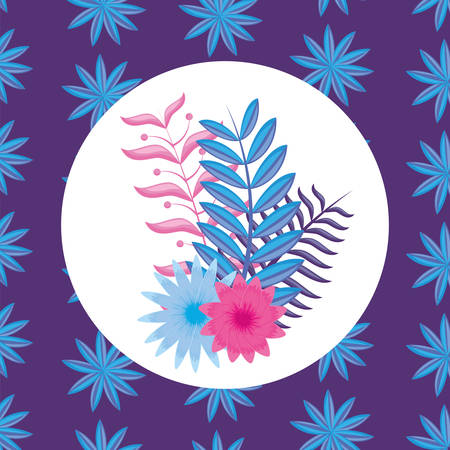 tropical leaves and flower over colorful background, vector illustration
