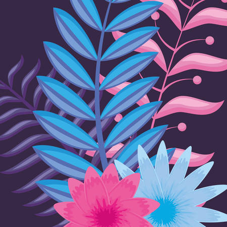 tropical leaves and flowers over blue background, colorful vector illustration