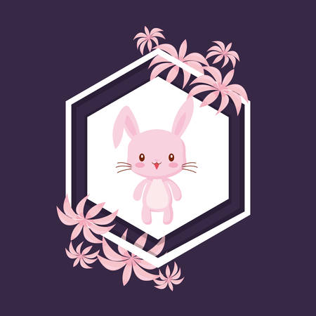 decorative frame with tropical leaves and cute rabbit icon over purple background, vector illustration