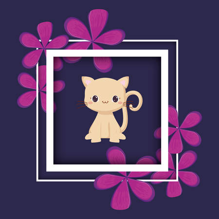 decorative frame with tropical leaves and cute cat icon over purple background, vector illustration
