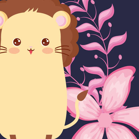 cute lion and tropical leaves over purple background, colorful design, vector illustration