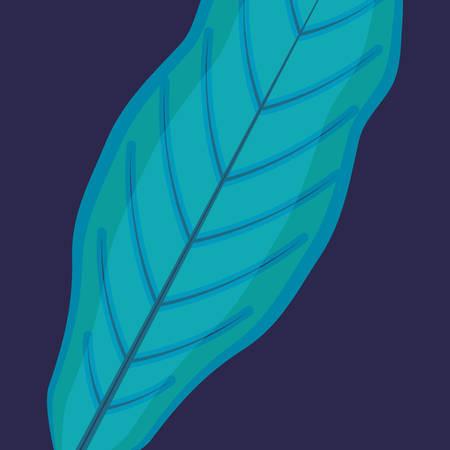 tropical leaf over blue background, colorful design, vector illustration