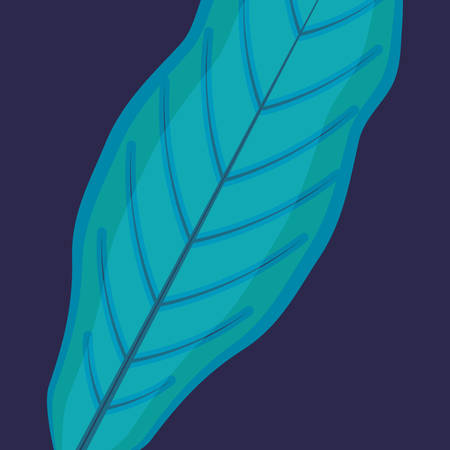 tropical leaf over blue background, colorful design, vector illustration