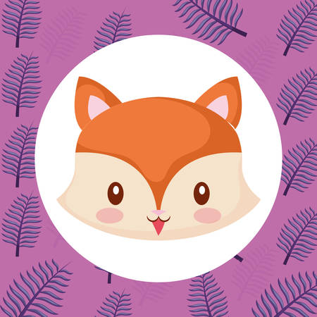 cute fox over tropical leaves background, colorful design, vector illustration