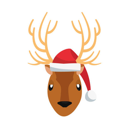 cute animal reindeer using hat on white background vector illustration Vettoriali