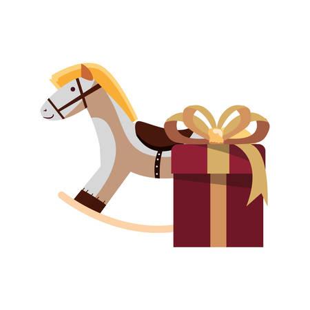 christmas rocking horse gift box vector illustration Illustration