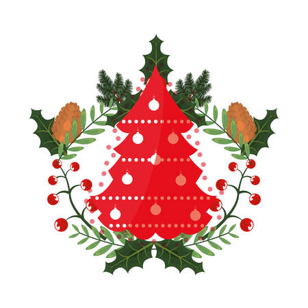 tree pinecone leaves christmas decoration vector illustration