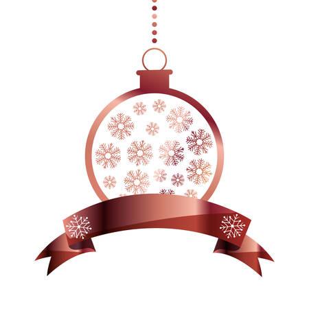 decorative christmas ball hanging ribbon vector illustration