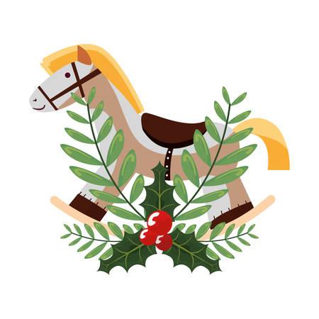 rocking horse holly berry decoration vector illustration Illustration