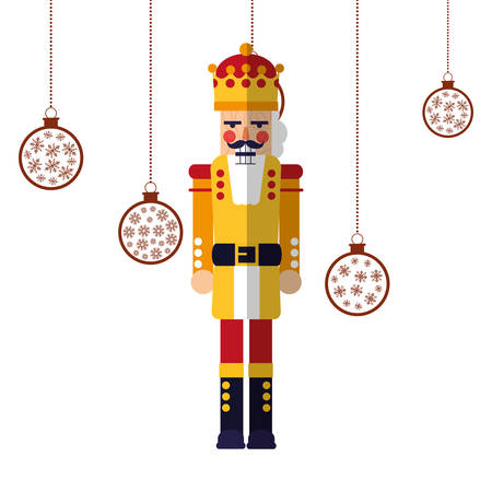 nutcracker christmas hanging balls decoration vector illustration
