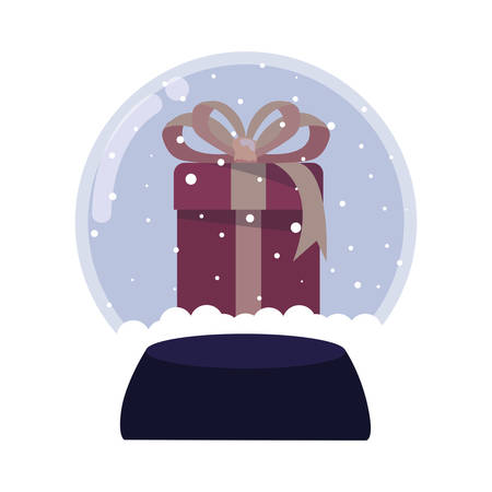 christmas gift snow globe decoration vector illustration
