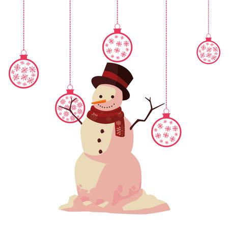 christmas snowman hanging balls decoration vector illustration