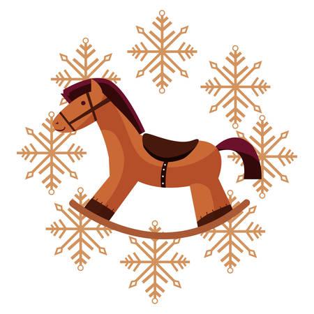 christmas rocking horse snowflakes decoration vector illustration Illustration