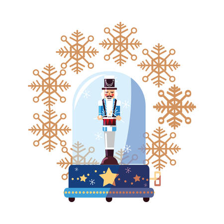 nutcracker christmas snow globe snowflake vector illustration Illustration