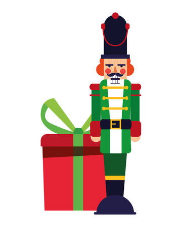 nutcracker christmas gift box decoration vector illustration