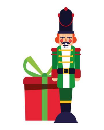 nutcracker christmas gift box decoration vector illustration