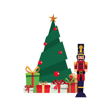 christmas tree nutcracker and gifts decoration vector illustration