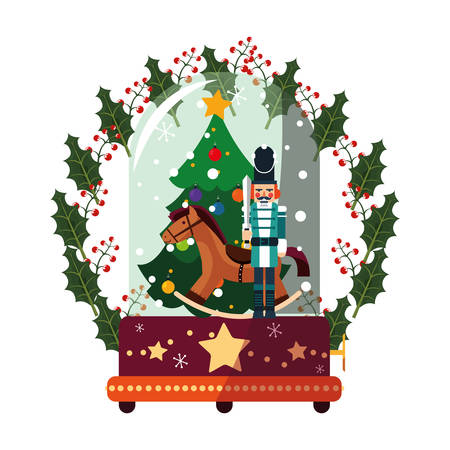 christmas tree nutcracker and horse decoration vector illustration