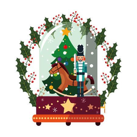 christmas tree nutcracker and horse decoration vector illustration