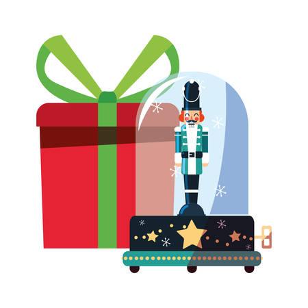 nutcracker christmas snow globe gift decoration vector illustration 矢量图像