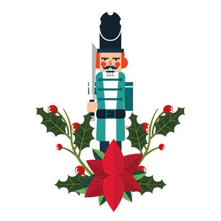 nutcracker christmas poinsettia flower decoration vector illustration