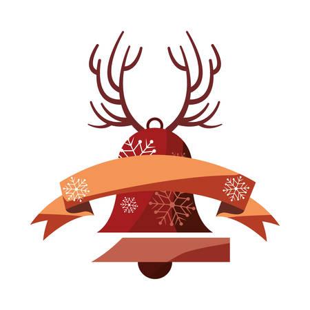 christmas bell horns ribbon decoration vector illustration