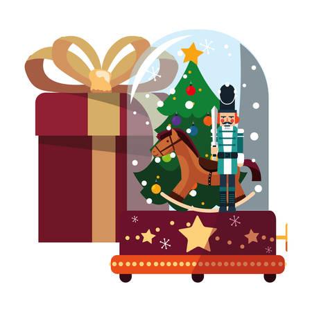 christmas nutcracker snow globe and gift vector illustration Illustration