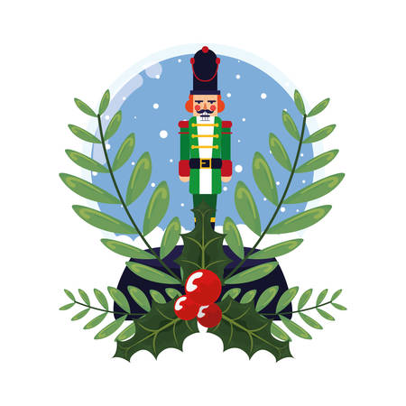 nutcracker christmas snow globe branches decoration vector illustration