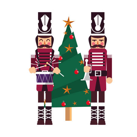 christmas nutcracker toys and tree vector illustration Çizim