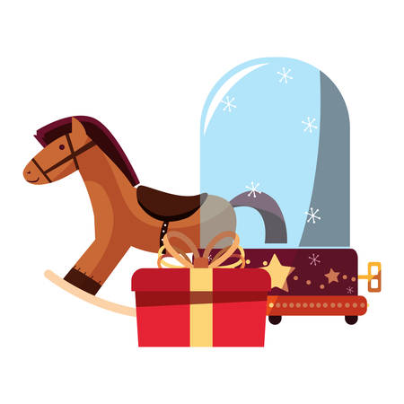 christmas rocking horse snow globe and gift vector illustration