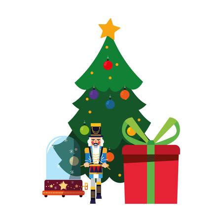 christmas nutcracker tree and gift vector illustration