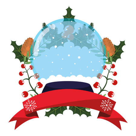 christmas snowglobe holly berry and ribbon vector illustration Vetores