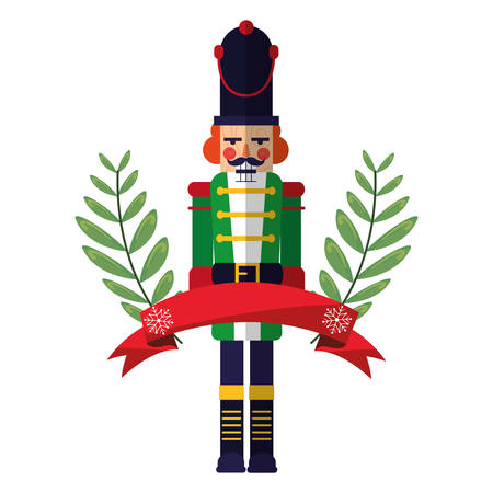 christmas nutcracker branches ribbon decoration vector illustration Illustration