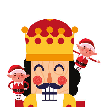 christmas nutcracker and elves decoration vector illustration Illustration