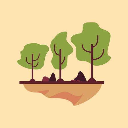 trees nature forest panorama season vector illustration  イラスト・ベクター素材