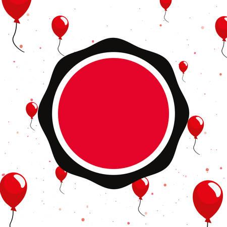 online shopping badge balloons white background vector illustration Ilustração