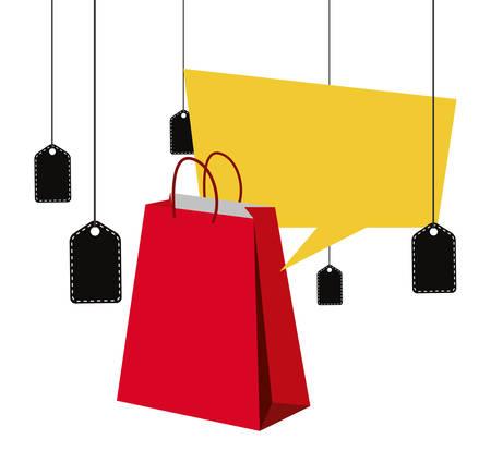 online shopping bag coupons speech bubble vector illustration