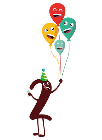 cartoon number two holding a balloons over white background, vector illustration
