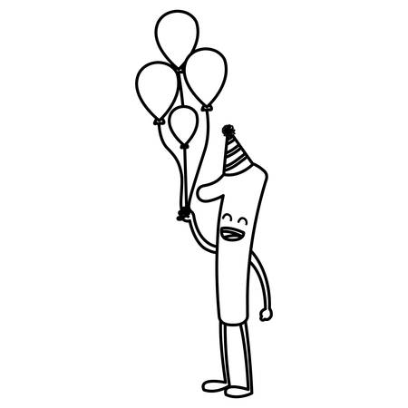 cartoon number one holding a balloons over white background vector illustration
